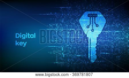 Digital Key. Electronic Key Icon Made With Binary Code. Cyber Security And Access Background. Digita