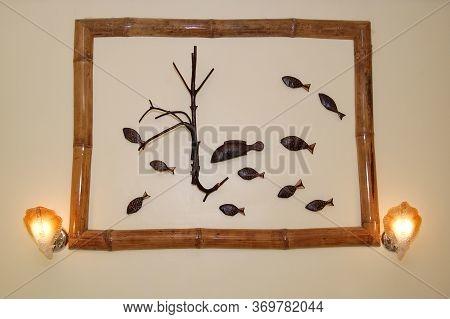 Palawan, Ph - Nov 28 - Wooden Fish Display With Frame On November 28, 2009 In Puerto Princesa, Palaw