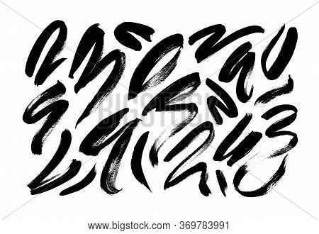 Curved Brush Stroke Vector Collection. Set Of Black Paint Grunge Ink Elements Isolated On White Back