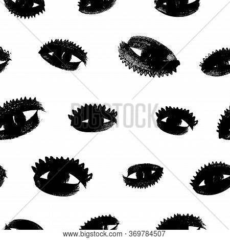 Eyes With Eyelashes Grunge Vector Seamless Pattern. Hand Drawn Ink Illustration. Background With Par