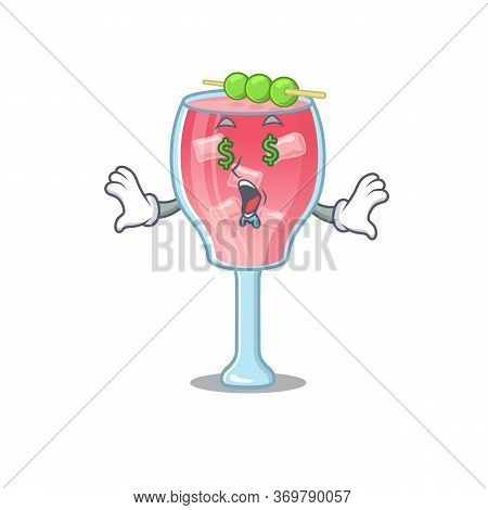 Wealthy Cartoon Character Concept Of Cosmopolitan Cocktail With Money Eyes