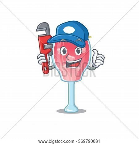 Cartoon Character Design Of Cosmopolitan Cocktail As A Plumber With Tool