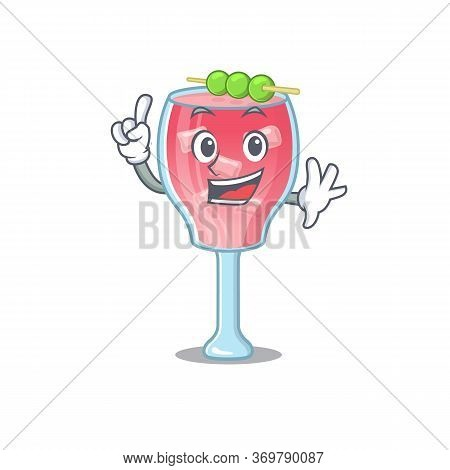 Cosmopolitan Cocktail Caricature Design Style With One Finger Gesture