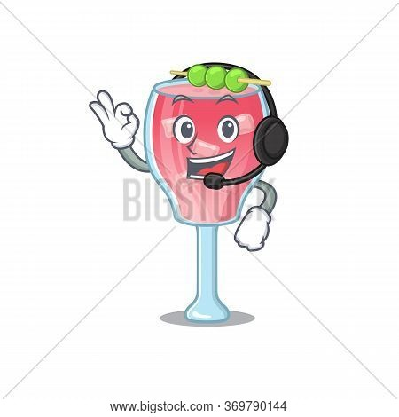 A Stunning Cosmopolitan Cocktail Mascot Character Concept Wearing Headphone