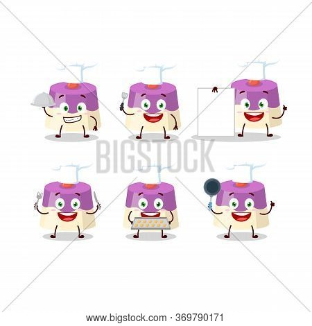 Cartoon Character Of Cake With Various Chef Emoticons