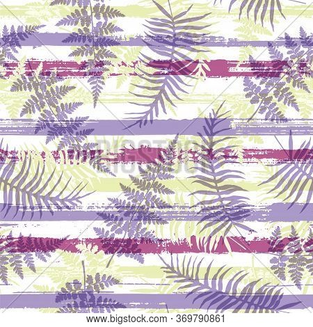 Decorative New Zealand Fern Frond And Bracken Grass Over Painted Stripes Seamless Pattern Design. Ba