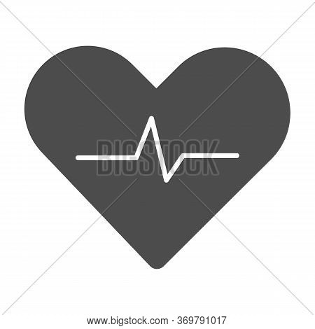 Heartbeat Solid Icon, Cardiology Concept, Cardiogram Sign On White Background, Heart With Heartbeat