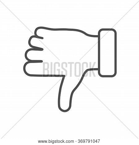 Dislike Gesture Thin Line Icon, Gestures Concept, Thumbs Down Finger Sign On White Background, Unlik