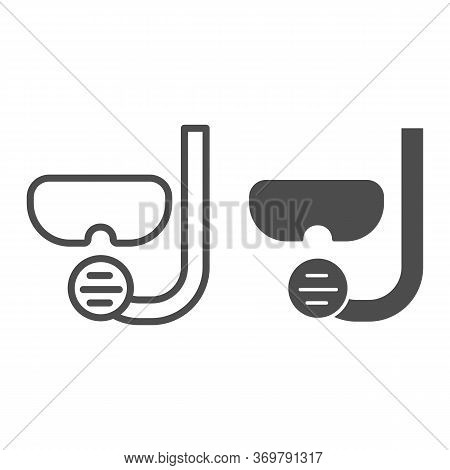 Diving Tube And Mask Line And Solid Icon, Summer Concept, Snorkeling Equipment Sign On White Backgro