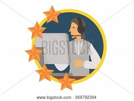 Female Telemarketer Or Sales Agent At Workplace With Headset At Call Center With Review Stars. Helpl