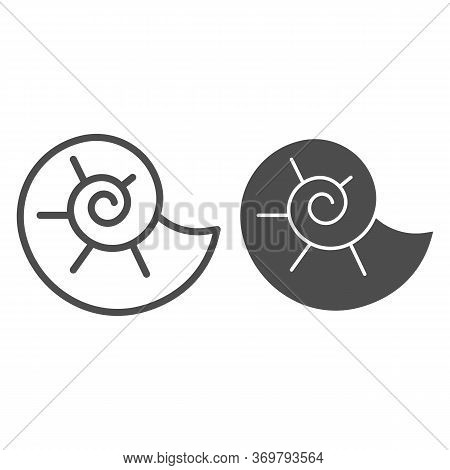 Snail Shell Line And Solid Icon, Nautical Concept, Circle Spiral Shaped Seashell Sign On White Backg