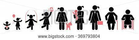 Nine Stages Of A Woman's Life. Icon Set Of Lifespan, Infancy, Toddler, Childhood, Early School Age,