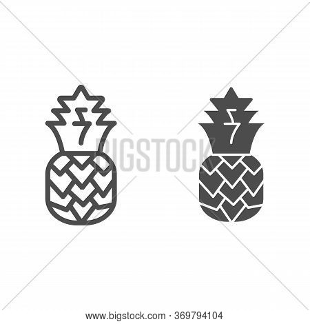 Pineapple Line And Solid Icon, Summer Concept, Tropical Fruit Sign On White Background, Ananas Icon