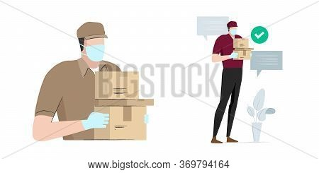 Safe Delivery Man Bring Package Box Carton Wearing Mask And Glove To Prevent Corona Virus Covid-19 S