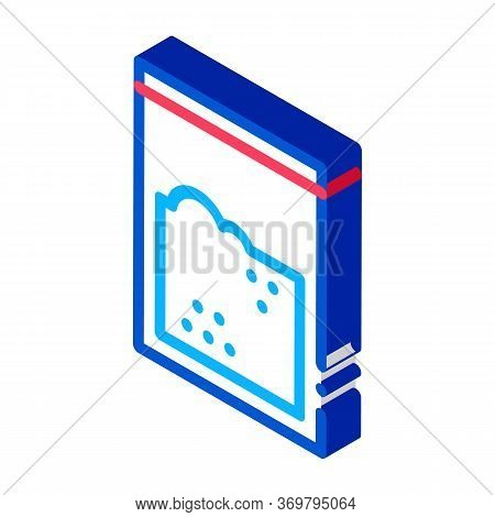 Cocaine Drug Bag Icon Vector. Isometric Cocaine Drug Bag Sign. Color Isolated Symbol Illustration