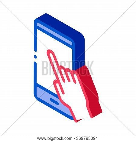 Hand Push Phone Icon Vector. Isometric Hand Push Phone Sign. Color Isolated Symbol Illustration