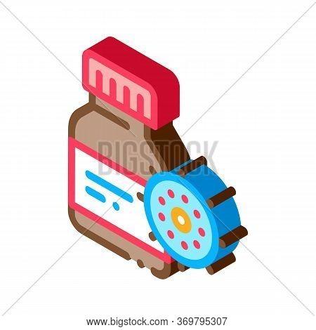 Drug Bottle Virus Icon Vector. Isometric Drug Bottle Virus Sign. Color Isolated Symbol Illustration