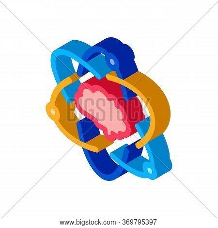 Atom Human Brain Icon Vector. Isometric Atom Human Brain Sign. Color Isolated Symbol Illustration