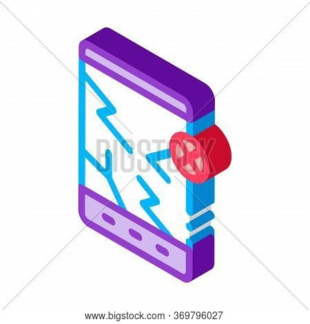 Wrecked Tablet Icon Vector. Isometric Wrecked Tablet Sign. Color Isolated Symbol Illustration