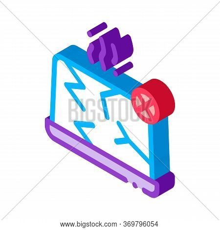 Wrecked Laptop Icon Vector. Isometric Wrecked Laptop Sign. Color Isolated Symbol Illustration