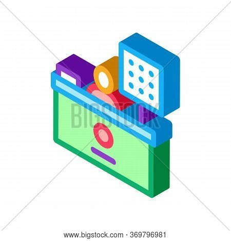 Cashier Table Icon Vector. Isometric Cashier Table Sign. Color Isolated Symbol Illustration