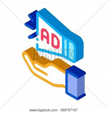 Loudspeaker Hand Icon Vector. Isometric Loudspeaker Hand Sign. Color Isolated Symbol Illustration