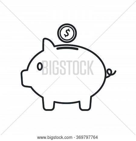 Piggy Bank Icon In Line Style. Money Box Icon For Finance And Savings Money For Future Concept.