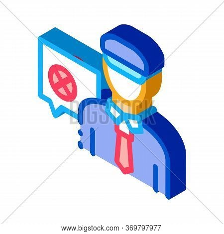 Policeman Denial Icon Vector. Isometric Policeman Denial Sign. Color Isolated Symbol Illustration