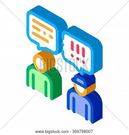 Man Speak Officer Icon Vector. Isometric Man Speak Officer Sign. Color Isolated Symbol Illustration