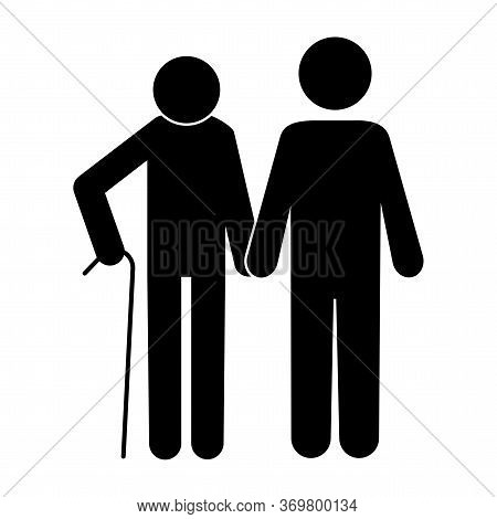 Grandfather Silhouette With His Son. Vector Image. Grandfather With His Son On A Walk. Stock Photo.