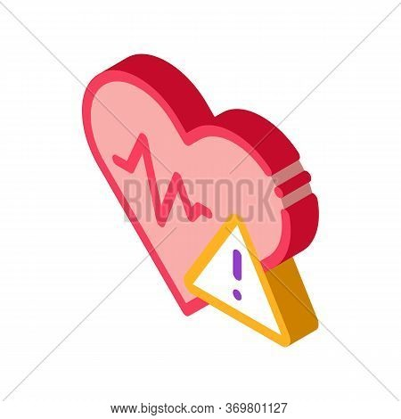 Heart Disease Icon Vector. Isometric Heart Disease Isometric Sign. Color Isolated Symbol Illustratio