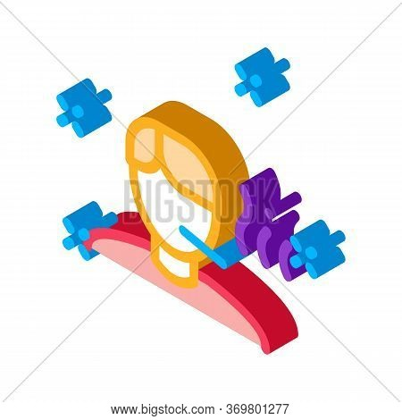 Illness Man Icon Vector. Isometric Illness Man Isometric Sign. Color Isolated Symbol Illustration