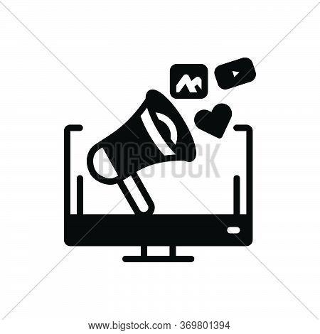 Black Solid Icon For Social-media-campaign Social Media Campaign Megaphone Marketing Loudspeaker