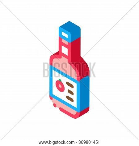 Sauce Bottle Icon Vector. Isometric Sauce Bottle Isometric Sign. Color Isolated Symbol Illustration