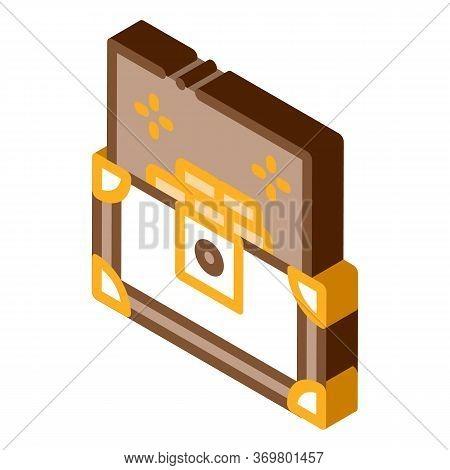 Treasure Chest Icon Vector. Isometric Treasure Chest Isometric Sign. Color Isolated Symbol Illustrat