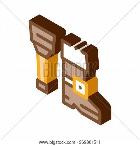 Wooden Leg Icon Vector. Isometric Wooden Leg Isometric Sign. Color Isolated Symbol Illustration