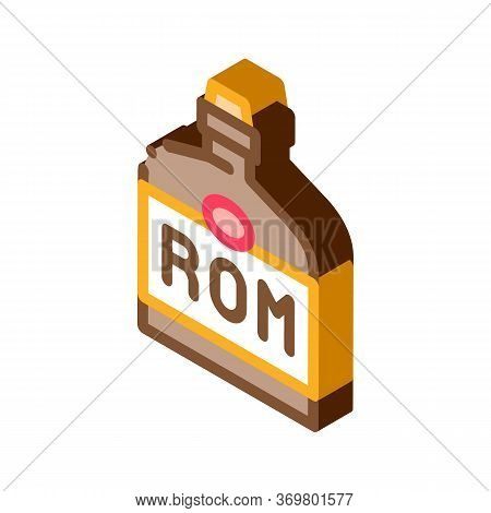 Rum Drink Bottle Icon Vector. Isometric Rum Drink Bottle Isometric Sign. Color Isolated Symbol Illus