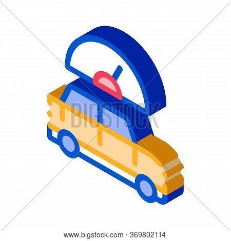 Car Speedometer Icon Vector. Isometric Car Speedometer Isometric Sign. Color Isolated Symbol Illustr