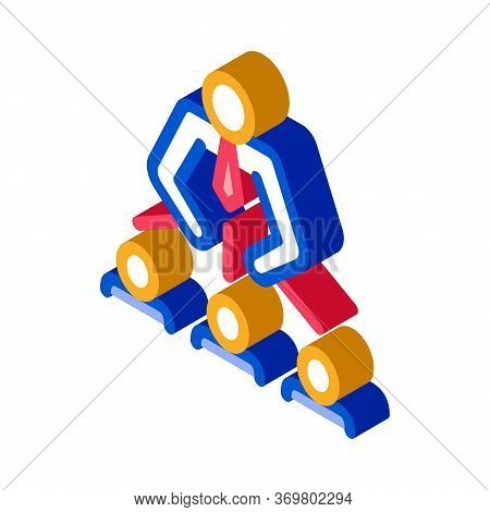 Man Leadership Icon Vector. Isometric Man Leadership Isometric Sign. Color Isolated Symbol Illustrat