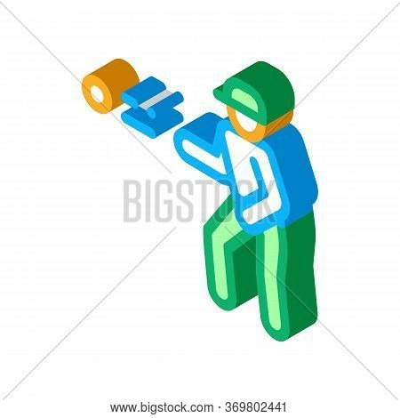 Player Throw Ball Icon Vector. Isometric Player Throw Ball Isometric Sign. Color Isolated Symbol Ill