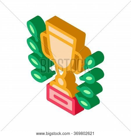 Champion Cup Icon Vector. Isometric Champion Cup Isometric Sign. Color Isolated Symbol Illustration