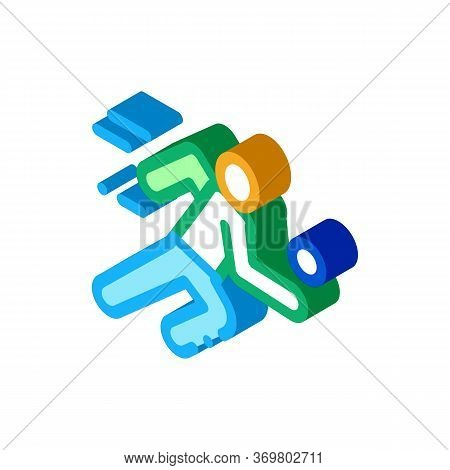 Volleyball Player In Run Icon Vector. Isometric Volleyball Player In Run Sign. Color Isolated Symbol