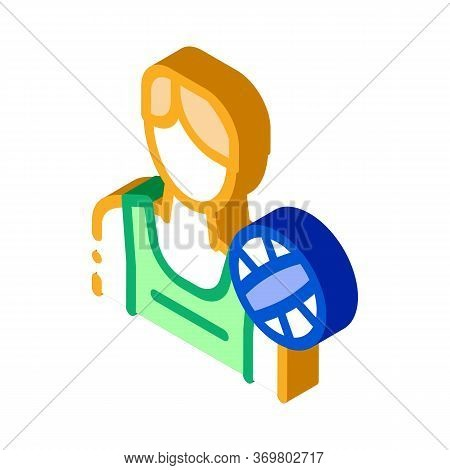 Male Volleyball Player Icon Vector. Isometric Male Volleyball Player Sign. Color Isolated Symbol Ill