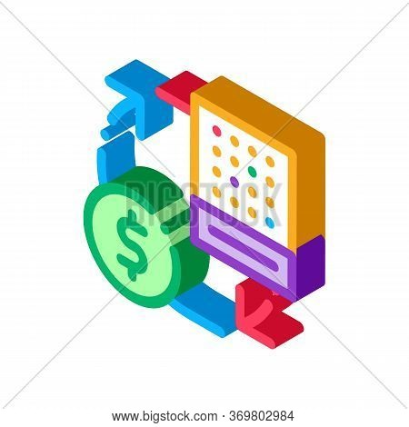 Exchange Lottery Sheet For Money Icon Vector. Isometric Exchange Lottery Sheet For Money Sign. Color