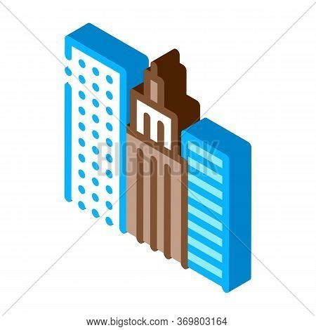 High-rise Buildings View Icon Vector. Isometric High-rise Buildings View Sign. Color Isolated Symbol