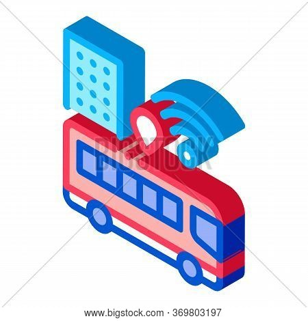 Bus Wi-fi Signal Icon Vector. Isometric Wi-fi Signal In City Sign. Color Isolated Symbol Illustratio