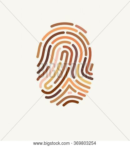 Fingerprint Of Many Different Skin Tones. Illustration For Diversity And Unity. The Concept Of One H