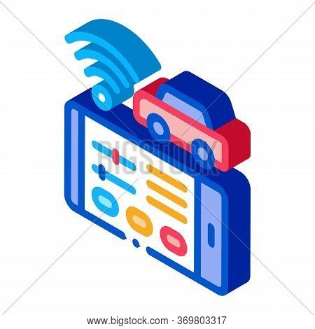 Geolocation Machines Via Wi-fi Icon Vector. Isometric Geolocation Machines Via Wi-fi Sign. Color Iso