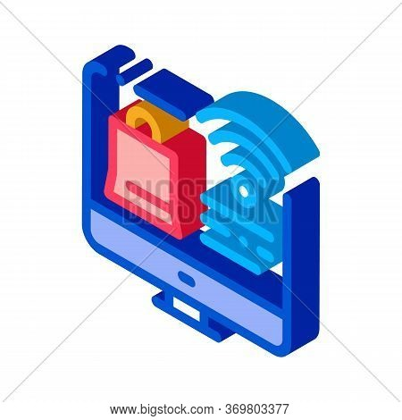 Online Shopping Via Wi-fi Icon Vector. Isometric Online Shopping Via Wi-fi Sign. Color Isolated Symb