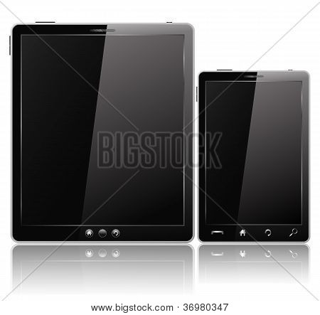Black Tablet PC and Mobile Phone
